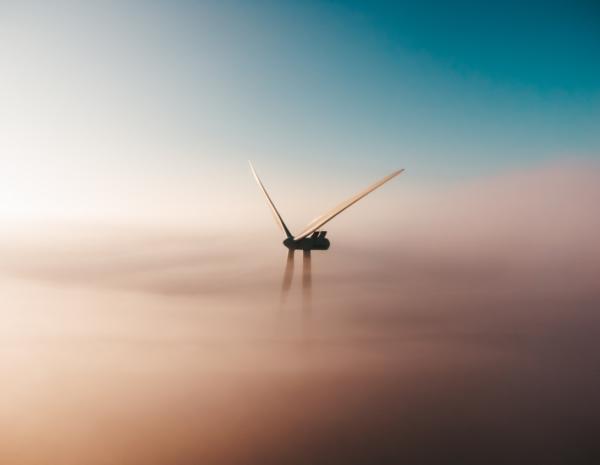 wind turbine in a fog